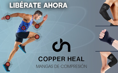 muslera de cobre manga de compresión para muslo copper heal