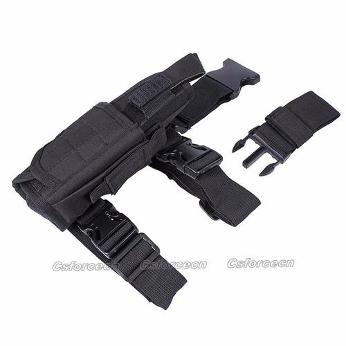 muslera  porta pistolera y cargador pierna derech color tan