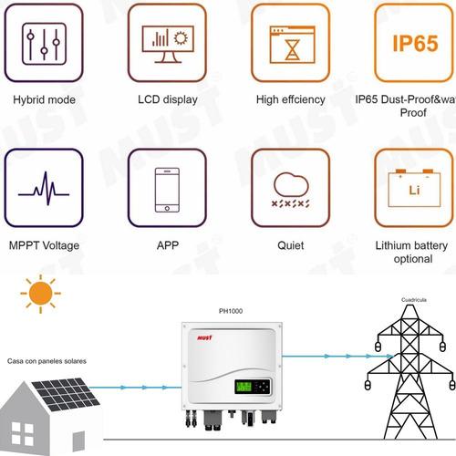 must inversor solar híbrido de alta frecuencia 5.000 watts/h