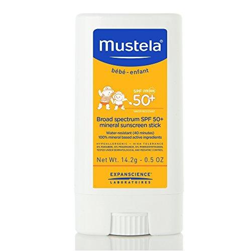 mustela spf 50-plus mineral sunscreen stick, 0.5 oz.