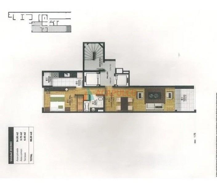muy lindo apartamento, cocina definida, amplia terraza!-ref:493