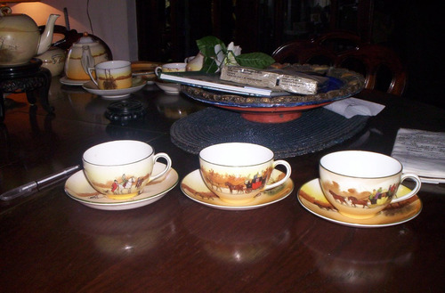 muy raras 3 tazas y 3 platos de royal doulton serie cocheros