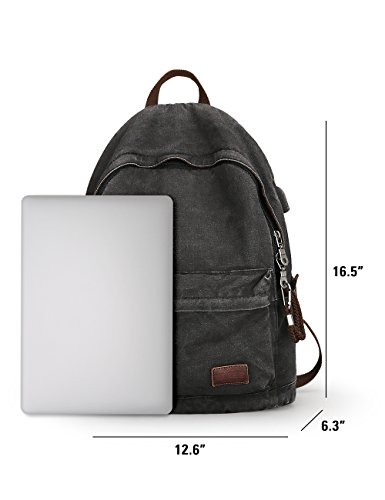 16eefb9d596 Muzee Canvas Backpack With Usb Charging Port For Men Women ...
