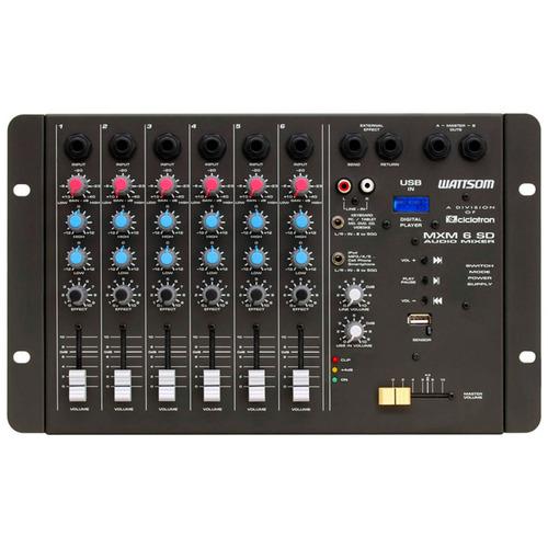 mxm6sd - mesa de som / mixer 6 canais usb mxm 6 sd ciclotron
