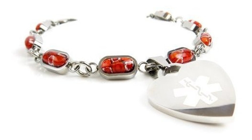 My Identity Doctor Red Red Millefiori Glass Pre-Engraved /& Customized Demerol Allergy Charm Alert Bracelet