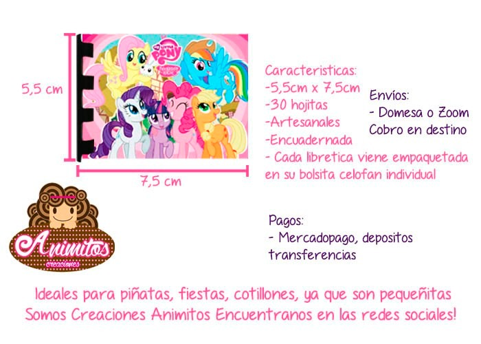 My Little Pony Mini Libretas De Notas Cotillon Equestria - Bs. 21,00 ...