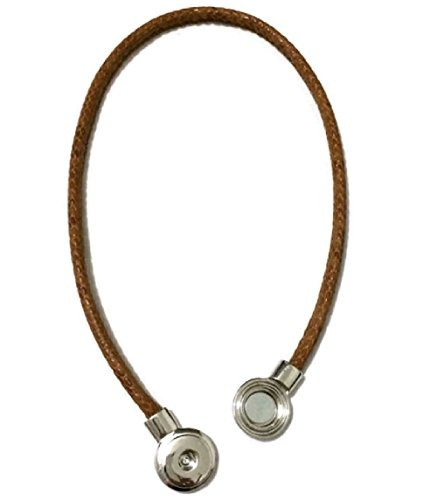 my prime gifts snap jewelry collar magnetico brown leather l