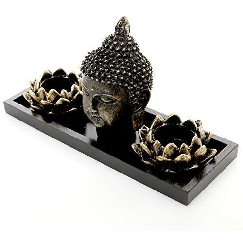 mygift buddha head sculpture jardín zen set w /lotus