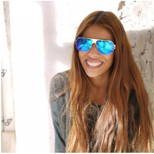 34ee86b99b002 Mykita - Óculos Franz Espelhado Dourado Com Lente Azul - R  369