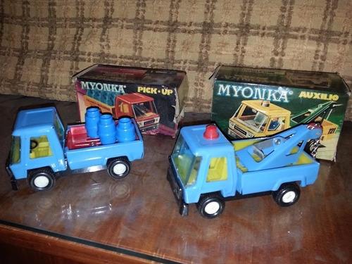 myonka camiones camion grua juguete antiguo caja originales