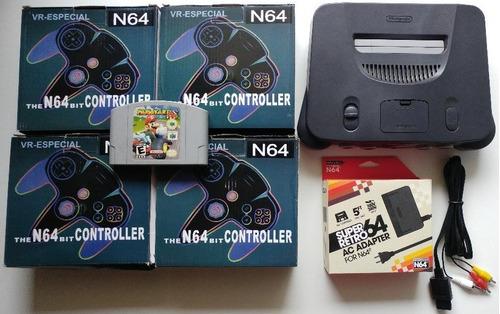 n-64 + 4 controles novos + mario kart 64 + todos cabos!!