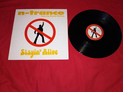 n-trance stayin alive  disco vinilo maxi single,europeo