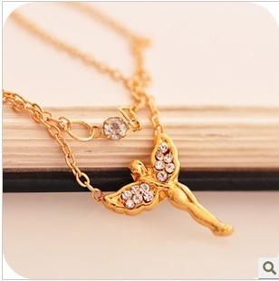n321 - colar com pingente de anjo e strass - dourado