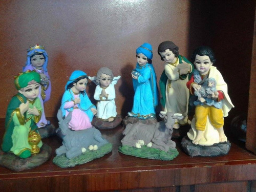 nacimiento decorado 8 piezas yeso ceramico,