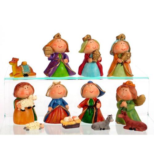 nacimiento navideño de 12 figuras de 6 cm de poliresina