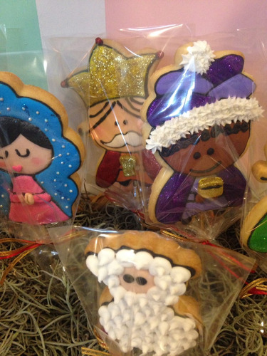nacimiento navideño de galleta decorada