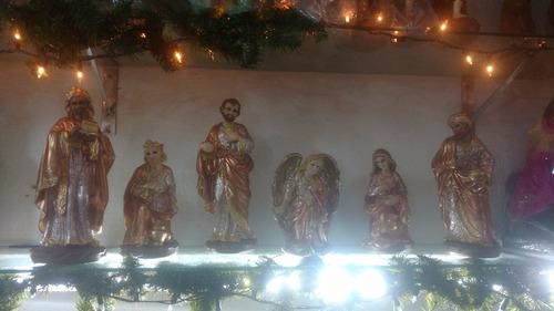 nacimiento navideño pintado a mano (6 figuras)