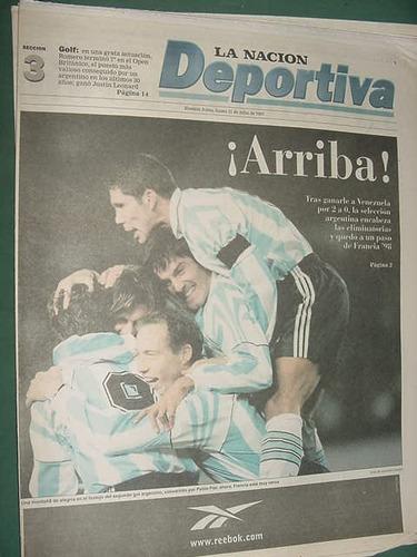 nacion deportiva 21/7/97 seleccion argentina venezuela