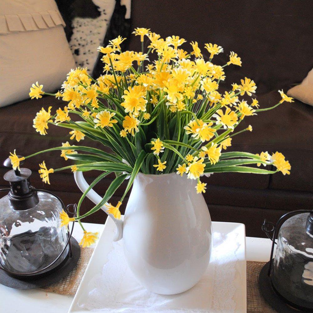 Nahuaa Fake Plants 4pcs Artificial Daisy Flowers Greene