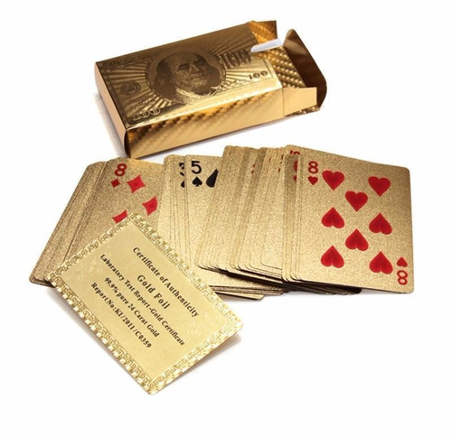 naipes de poker con baño de oro 24 kilates impermeables x 2