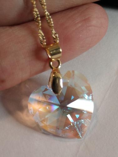namorados colar cristal swarovski 2,0cm folheado a ouro  18k