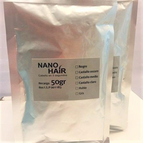 nano hair 50gr recarga fibra keratina pelo en polvo colores