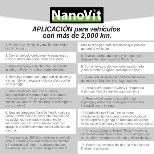 nanovit potenciador nanotecnológico+motores 4 cilindros auto