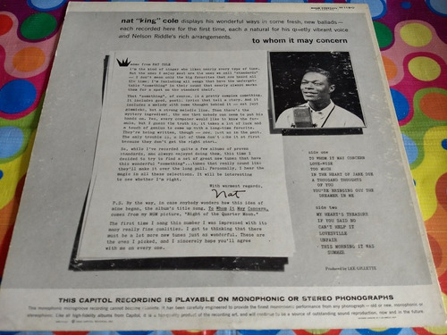 nar king cole lp to whom it may concern 1959