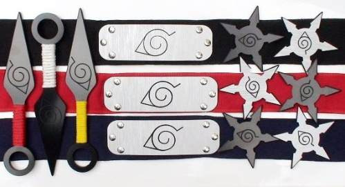 naruto 10 peças bandana kunai shuriken ninja - kit 10 peças