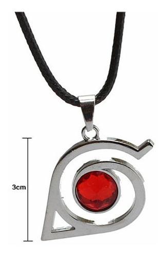 naruto collar metal importado cristal rojo