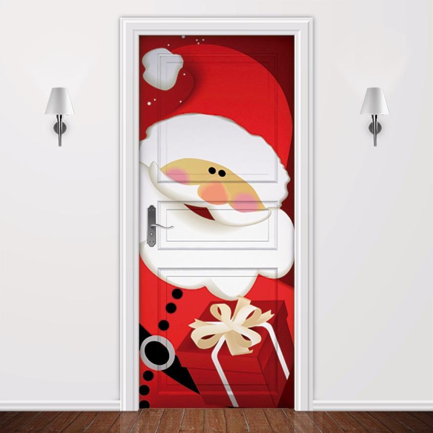 Natal Papai Noel Natalino Adesivos Decoraç u00e3o Para Portas R$ 69,80 em Mercado Livre