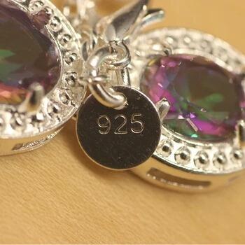 natural do arco-íris místico topaz 925 prata para mulheres