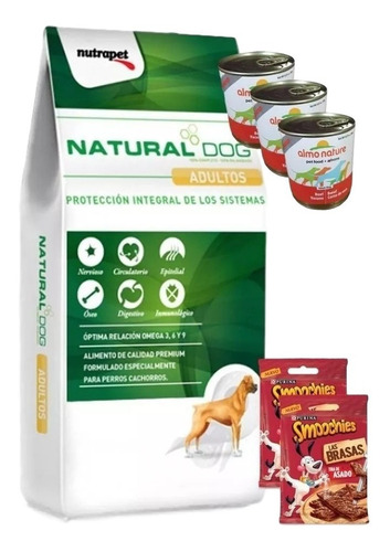 natural dog adulto 22kg + 3 pate + 2 smoochies