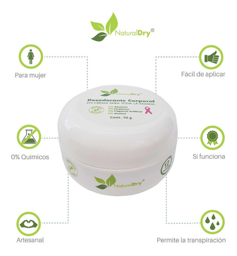 naturaldry desodorante 100% natural artesanal 2pz para mujer