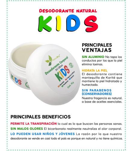 naturaldry desodorante 100% natural kids no mancha la ropa