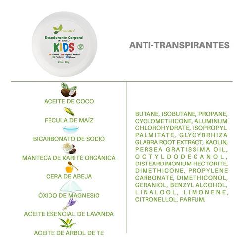 naturaldry desodorante natural kids elimina el mal olor 3pz