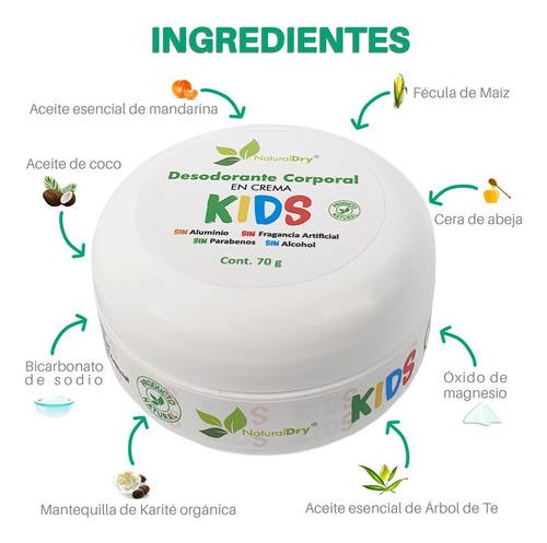 naturaldry desodorante natural kids no obtruye los poros