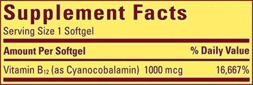 nature made vitamin b-12 valor tamaño softgel, 1000 mcg, 150