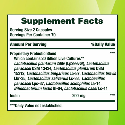 nature's bounty - probiotic 10 / ultra - 140 caps.