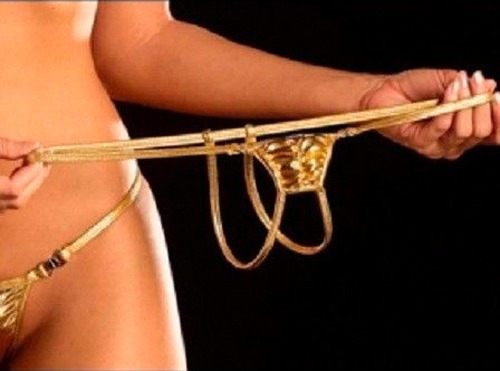 naughty golden crotchless  - tanga metalica abierta