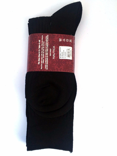 naútica 3 pares de medias negras nuevas talla 8 al 12 hombre