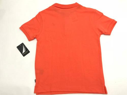 nautica camisa tipo polo de niño, talla xl/eg (7x), peachy.