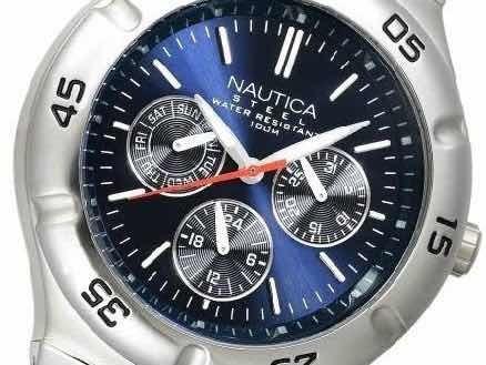 nautica men's n10061 stainless steel round multi-function