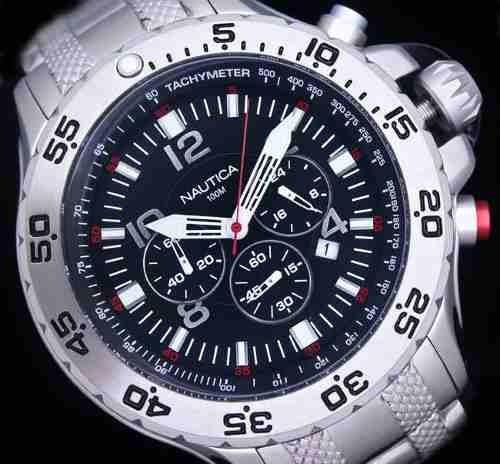 nautica nst chronograph n19509g azul acero hombres