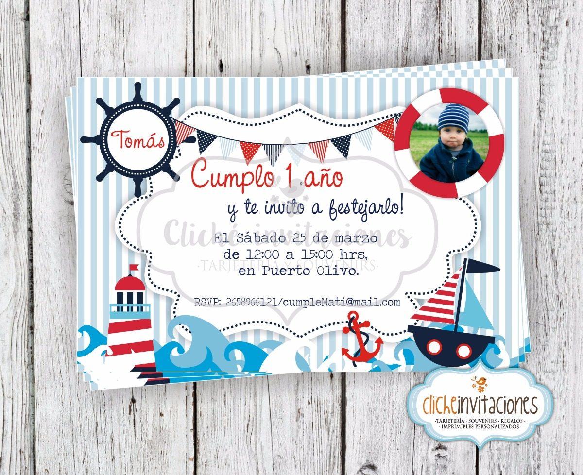 Nautico Marinero Tarjeta Invitación Digital Imprimible Niño
