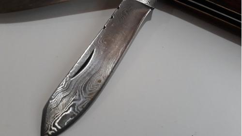 navaja artesanal doble hoja acero damasco