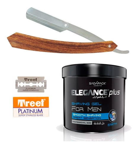 navaja barbero peluqueria + shaving gel elegance + filos