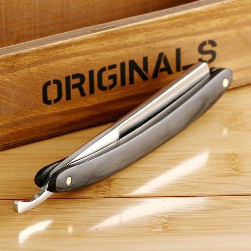 navaja libre para afeitar tipo barbero rasurar madera acero