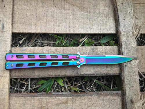 navaja mariposa cuchillo raimbow csgo balisong multicolor
