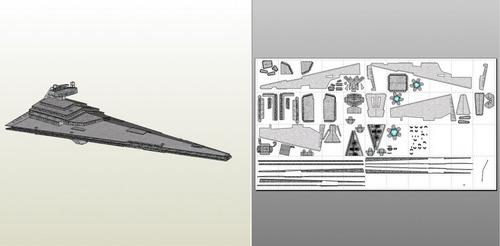 nave imperial star war - 80 cm (para armar en papercraft)